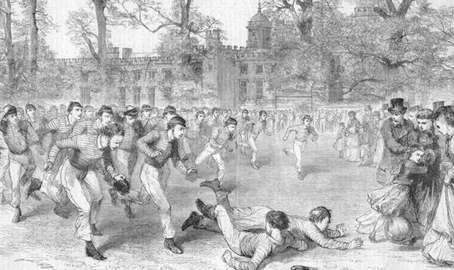 Les débuts du football à Rugby - mais la scène aurait pu avoir lieu à Londres ou Sheffield !