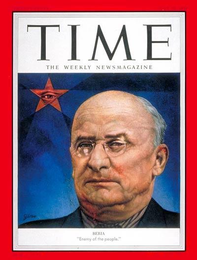"""""""Beria, ennemi du peuple"""" / Une du magasine """"TIME"""" en 1953, à la mort de Beria"""