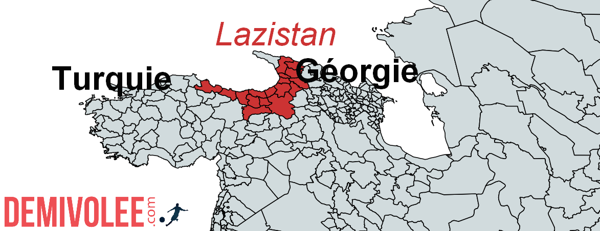 En rouge, les zones de peuplement Lazes