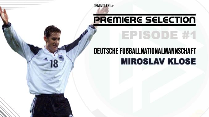 Klose qui fête son premier but avec l'Allemagne
